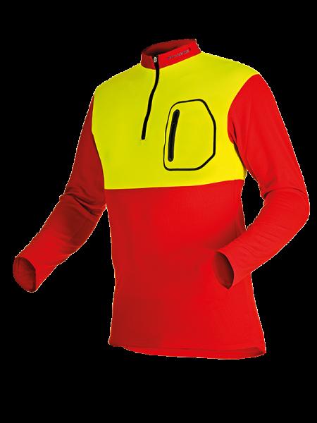 Pfanner Zipp-Neck Shirt langarm rot/neongelb