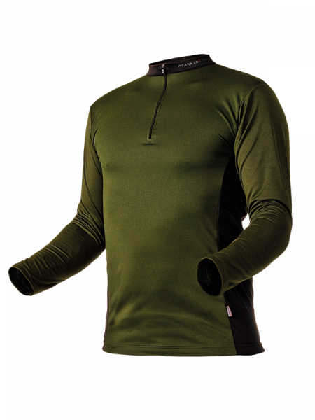Pfanner Zipp-Neck Shirt manica lunga verde oliva